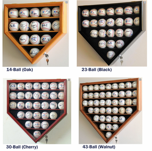 Home Plate Shaped Baseball Display Case Locking Cabinet Holders Rack