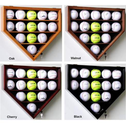 Home Plate Shaped Softball Display Case Locking Cabinet Holders Rack w/ UV Protection<br>4 WOOD COLORS!