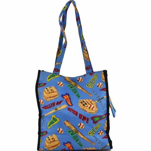 Home Run Baseball Blue Tote Bag