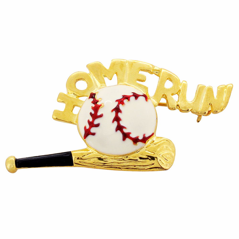 Home Run Baseball Brooch Pin<br>Gold or Silver