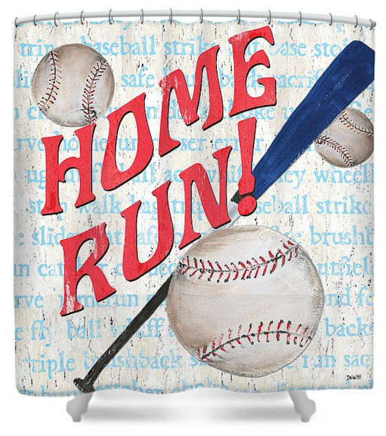 Home Run! Baseball Shower Curtain