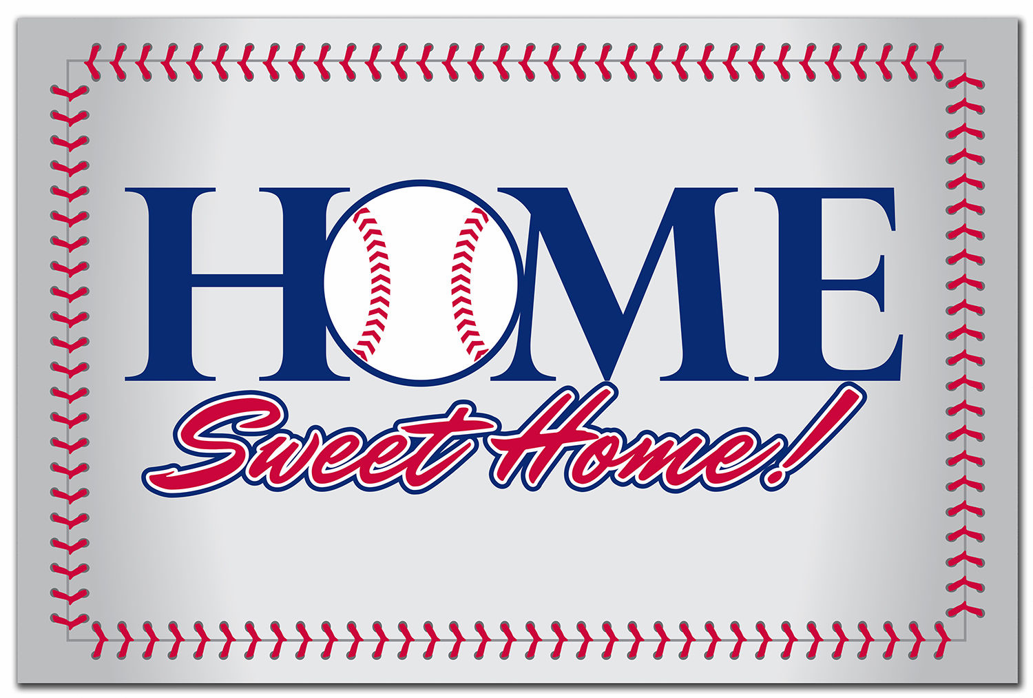 Home Sweet Home Baseball Stitch Doormat<br>LESS THAN 6 LEFT!