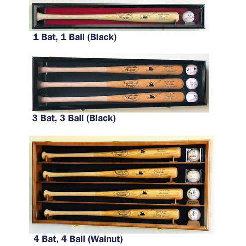 Horizontal Bat and Baseball Display Case Locking Cabinet Holders Rack w/ UV Protection<br>5 SIZES!<br>4 WOOD COLORS!