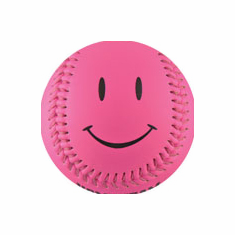 Hot Pink Smiley Face Baseball