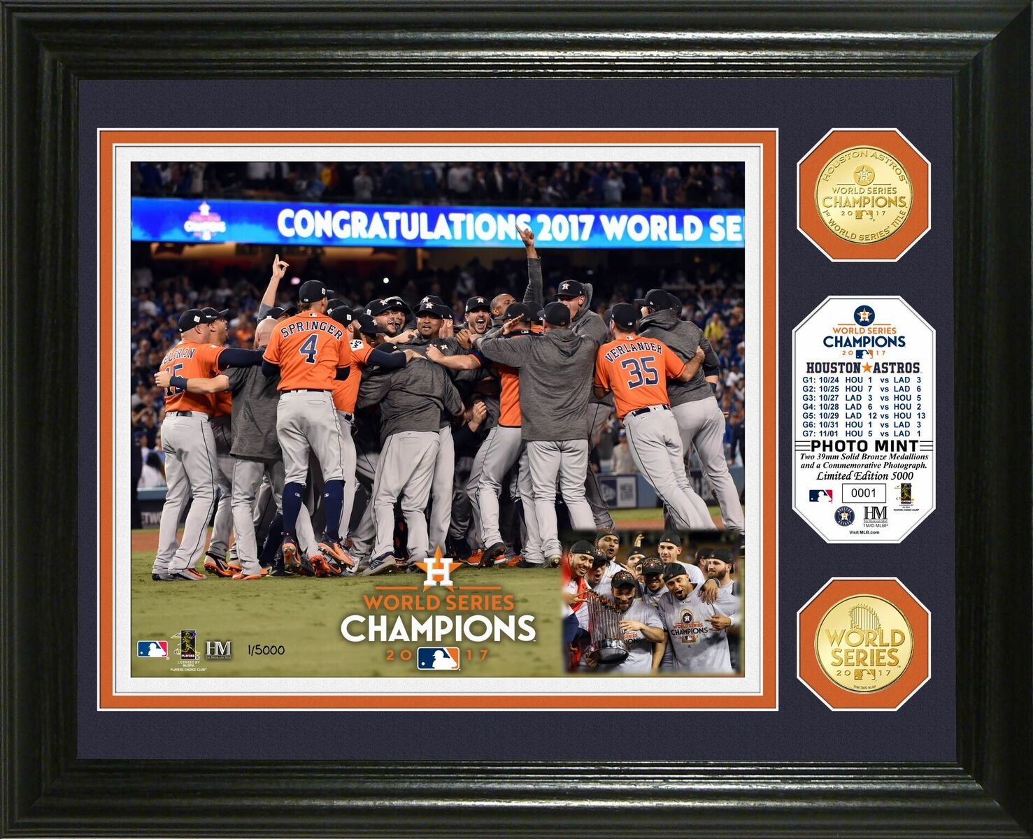 Houston Astros 2017 World Series Champions Celebration Bronze Coin Photo Mint