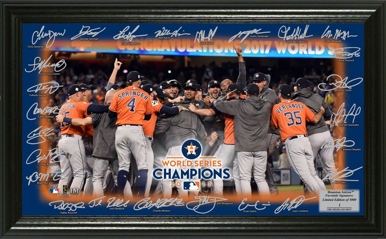 Houston Astros 2017 World Series Champions Celebration Signature Field Photo