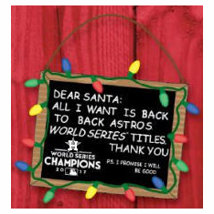 Houston Astros 2017 World Series Champions Resin Chalkboard Sign Ornament<br>LESS THAN 8 LEFT TO PRE-ORDER!