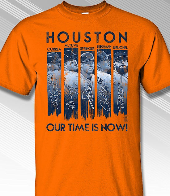 Houston Our Time is Now T-Shirt<br>Orange or Navy Blue<br>Short or Long Sleeve<br>Youth Med to Adult 4X