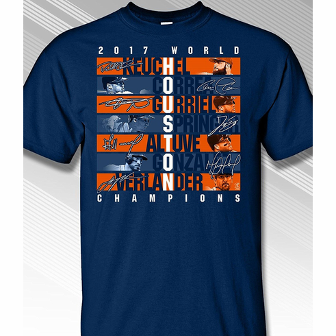 Houston 2017 World Champions T-Shirt<br>Short or Long Sleeve<br>Youth Med to Adult 4X