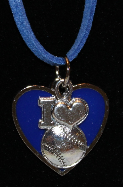 I Heart Baseball Blue Heart Necklace<br>ONLY 12 LEFT!