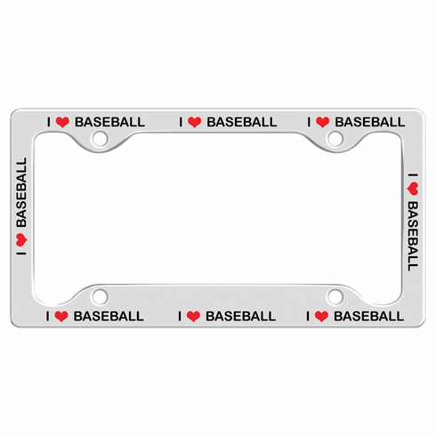 I Heart Baseball License Plate Holder