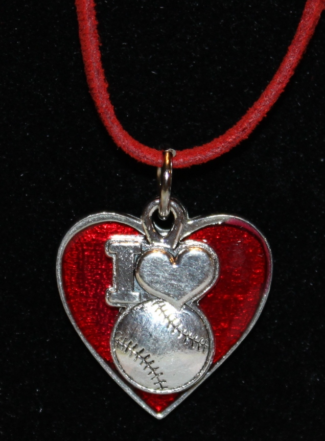 I Heart Baseball Red Heart Necklace<br>ONLY 11 LEFT!