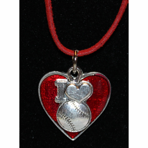 WEEKLY SPECIAL #14<br>I Heart Baseball Red Heart Necklace<br>ONLY 9 LEFT!