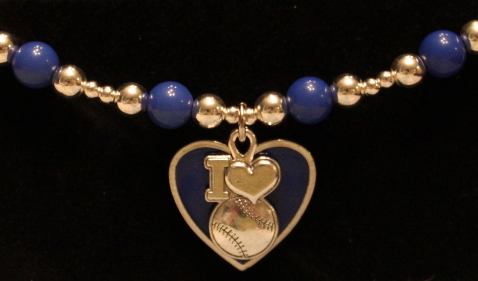 I Heart Baseball Stretchy Blue Bracelet<br>ONLY 4 LEFT!