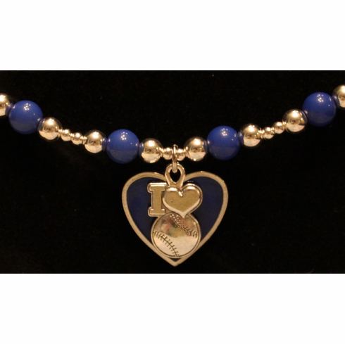 I Heart Baseball Stretchy Blue Bracelet<br>ONLY 7 LEFT!
