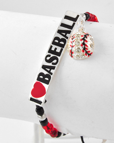 I Love Baseball Adjustable Beaded Bracelet