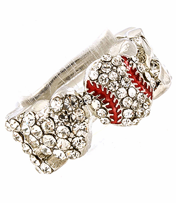 I Love Baseball Crystal Stretchy Ring