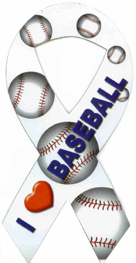I Love Baseball<br>Ribbon Car Magnet
