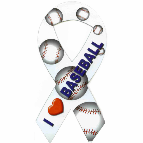 I Love Baseball Ribbon Car Magnet