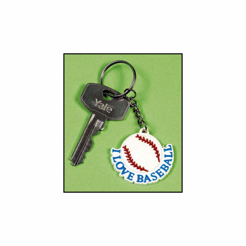 I Love Baseball Rubber Key Chain<br>LESS THAN 6 LEFT!