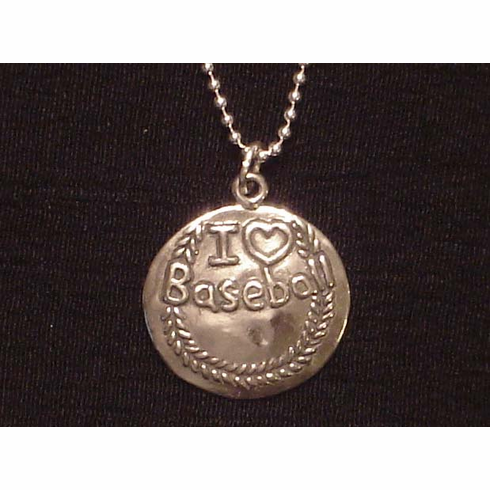 I Love Baseball<br>Sterling Silver<br>Round Necklace