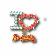 I Love MLB Team Crystal Heart Pin<br>BRAVES or RED SOX or YANKEES