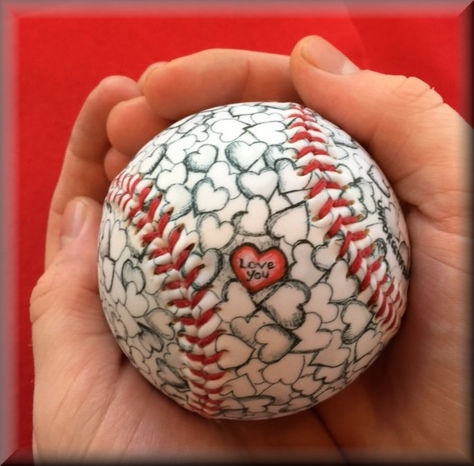 I Love You Heart Baseball<br>PRE-ORDER FOR LATE-MAY DELIVERY!