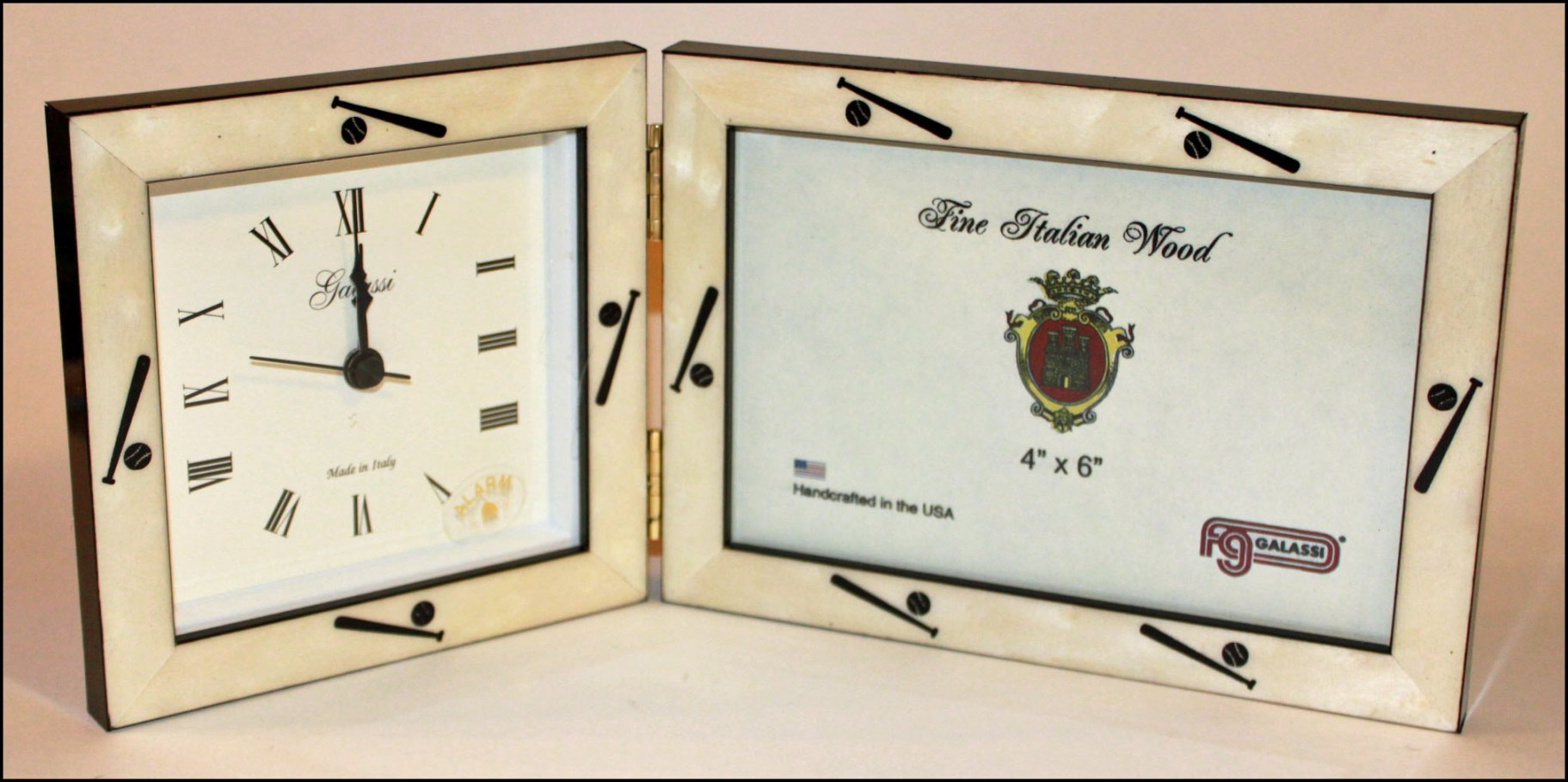 Italian Wood Baseball Alarm Clock and 4x6 Frame<br>ONLY 2 LEFT!