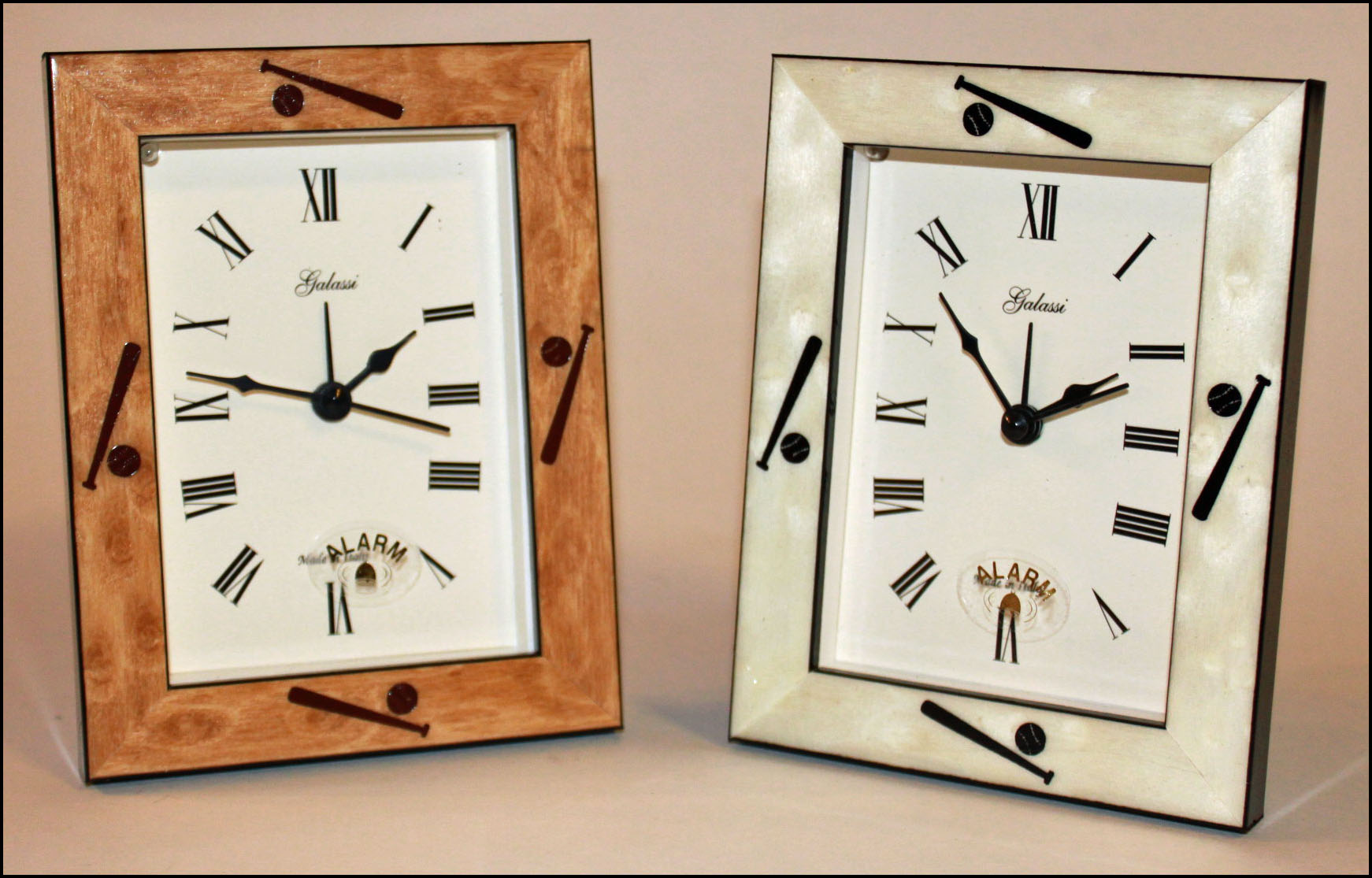 Italian Wood Baseball Framed Alarm Clocks<br>2 COLORS!