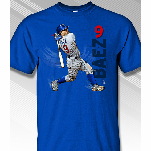 Javier Báez Swing in Motion Chicago 9 T-Shirt<br>Short or Long Sleeve<br>Youth Med to Adult 4X