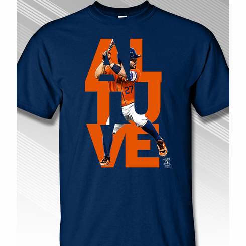 Jose Altuve Houston Name Stack T-Shirt<br>Short or Long Sleeve<br>Youth Med to Adult 4X