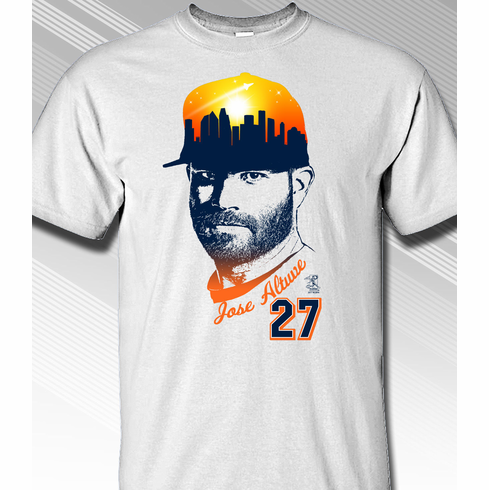 Jose Altuve Houston Skyline Cap T-Shirt<br>Short or Long Sleeve<br>Youth Med to Adult 4X