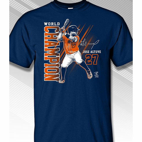 Jose Altuve Houston World Champion T-Shirt<br>Short or Long Sleeve<br>Youth Med to Adult 4X
