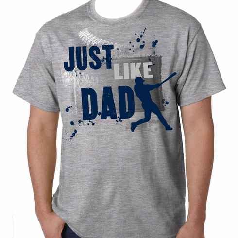 Just Like Dad Baseball Youth Gray T-Shirt