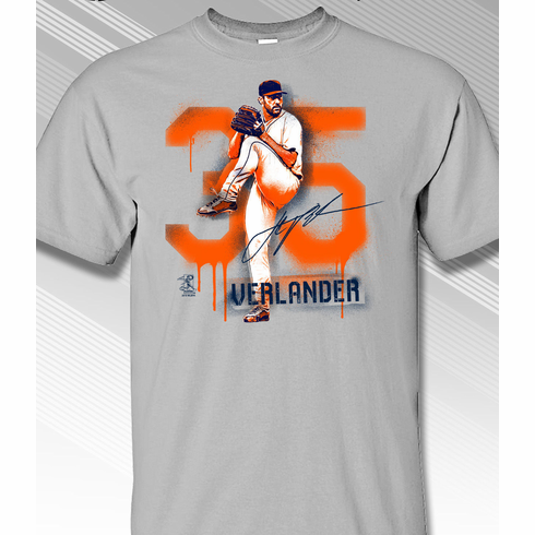 Justin Verlander Houston Graffiti T-Shirt<br>Short or Long Sleeve<br>Youth Med to Adult 4X