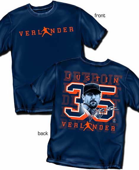 Justin Verlander Silhouette Number T-Shirt<br>Short or Long Sleeve<br>Youth Med to Adult 4X