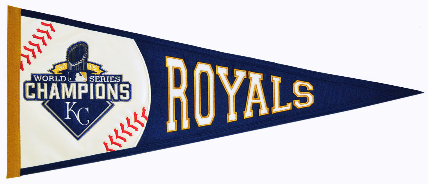 Kansas City Royals 2015 World Series Champions Embroidered Pennant<br>ONLY 1 LEFT!
