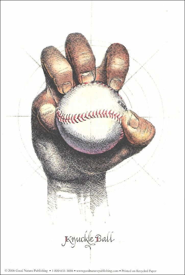 """Knuckle Ball"" Baseball 6x9 Print"