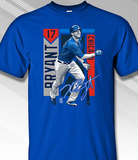 Kris Bryant Chicago Colorblock T-Shirt<br>Short or Long Sleeve<br>Youth Med to Adult 4X