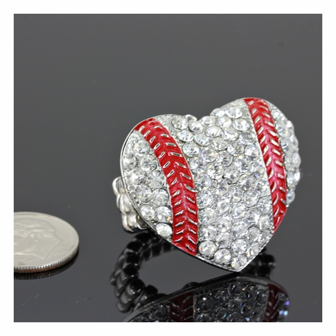 Large Baseball Crystal Heart Stretchy Ring