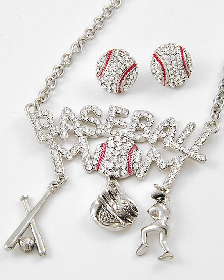 "Large Baseball Mom Bling 18"" Necklace and Matching Crystal Post Earrings"