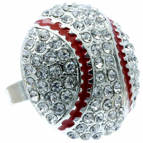 Large Crystal Baseball Adjustable Ring