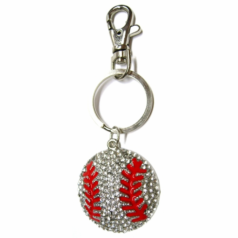 Large Crystal Baseball Key Ring<br>ONLY 6 LEFT!