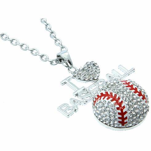 "Large I Love Baseball Crystal Pendant with 18"" Necklace<br>ONLY 3 LEFT!"