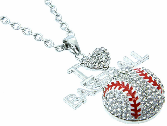 "Large I Love Baseball Crystal Pendant with 18"" Necklace<br>ONLY 2 LEFT!"