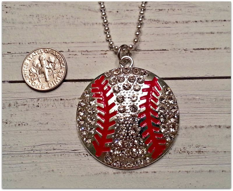 Large Silver Crystal Baseball Necklace