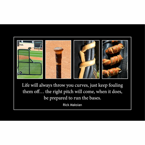 LIFE Wood Plaque<br>Baseball Letter Art<br>Rick Maksian Quote