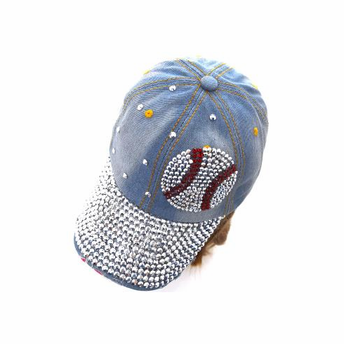 Light Denim Crystal Baseball Bling Hat<br>LESS THAN 6 LEFT!