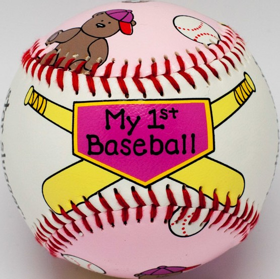 Light Pink Baby Girl's First Baseball