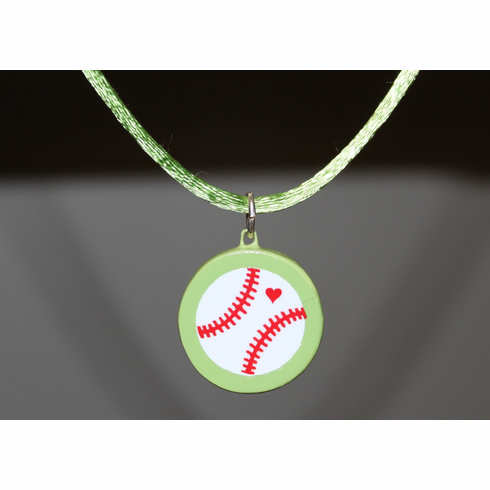 Lime Green Porcelain Baseball Necklace